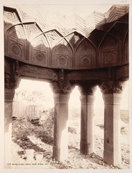 Tatta, Karachi District, Sindh. An unfinished pillared tomb beside the last